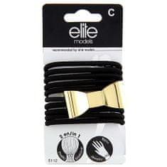 Elite Models Gumis karkötők 2 az 1-ben , 10 db, fekete, masnis, átmérő 6,5 cm