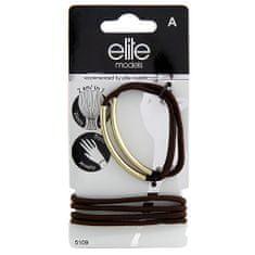 Elite Models Gumičkové náramky 2v1 , 6ks, hnědo-zlaté, průměr 6,5cm