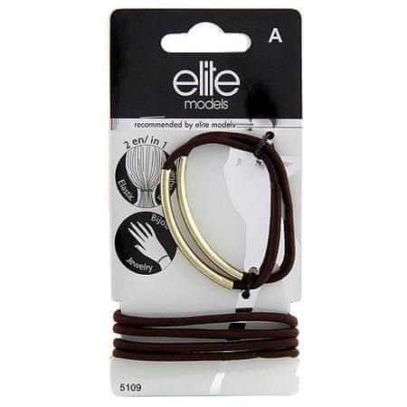 Elite Models Gumis karkötők 2 az 1-ben , 6 db, barna-arany, átmérő 6,5 cm