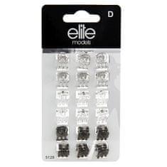 Elite Models Skřipce do vlasů 18ks , Šedé a čiré, šíře 10mm