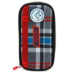 Target Školský peračník bez náplne Target, Compact Geo, s pravítkom, kockovaný, červeno/modro/šedý