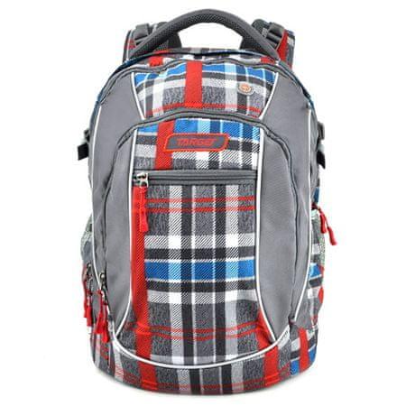Target Cél diák hátizsák, Kockás, vörös-kék-szürke