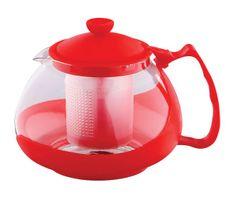 Renberg Konvice na čaj sklo plast 750 ml červená