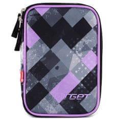Target Školský peračník s náplňou , jednoposchodový, čierno/fialový