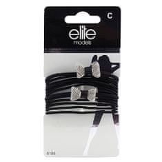 Elite Models Gumičky , 8ks, černé + 2 stříbrné mašle