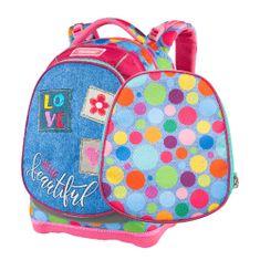 Target Ciljni nahrbtnik šole, Barvne polka pike, roza-modre