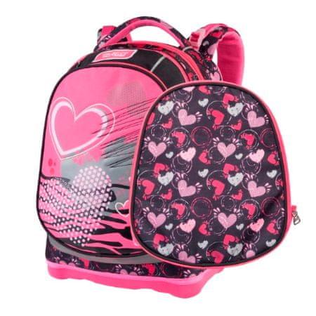 Target Cél iskolai hátizsák, Szív, rózsaszín-fekete