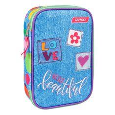 Target Piórnik szkolny z wypełnieniem docelowym, Kolorowe kropki, jednopiętrowe, różowo-niebieskie