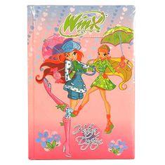 Winx Club Diár A5 linajky Winx Club, Diár A5 sewed 80 listov linajky Bloom&Stella s dáždnikmi ružová
