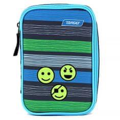 Target Školský peračník s náplňou Target, Smajlíky, jednoposchodový, sivý s farebnými prúžkami