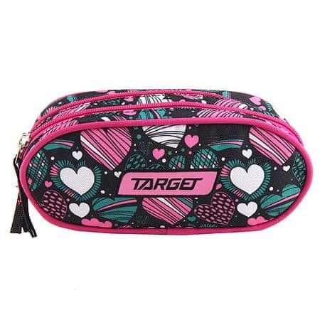 Target Docelowy piórnik szkolny, Serce, różowo-zielony kolor
