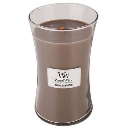 Woodwick Gyertya ovális váza , Homok és sodrófa, 609,5 g