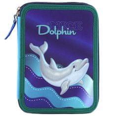Target Školský peračník s náplňou Dolphin, Fialovo/modrý, delfín v mori