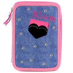 Target Školský peračník s náplňou , dvojposchodový, džínovo/ružový s motívom srdce