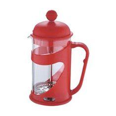 Renberg Konvička na čaj a kávu v držáku French Press 600 ml červená
