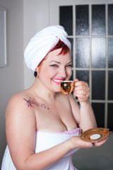 MaryBerry Bílý turban na vlasy s jemnými růžovými proužky | MaryBerry