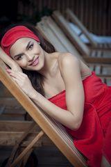 MaryBerry Luxusní červená kosmetická čelenka s krajkou | MaryBerry