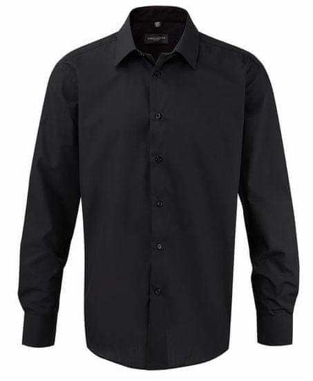 Russell Collection Pánská košile s dlouhými rukávy Ultimate v nežehlivé úpravě, Black M