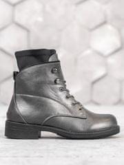 BESTELLE Pěkné šedo-stříbrné kotníčkové boty dámské na plochém podpatku