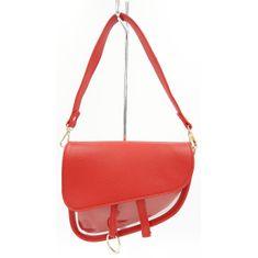 Asymetrická kabelka listonoška na řetízku v červené barvě