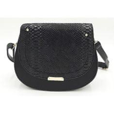 Černá kabelka s hadím vzorem na klopě + dárek zdarma