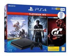 Sony PlayStation 4 Slim, 1 TB igraća konzola + igre Hits (GT Sport-HZD CE-UC4)