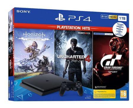 Sony PlayStation 4 Slim, 1 TB igralna konzola + igre Hits (GT Sport-HZD CE-UC4)