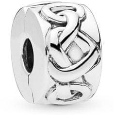Pandora Stříbrný klip Propletená srdce 798035 stříbro 925/1000