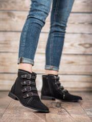 BESTELLE Semišové kotníkové boty s přezkou