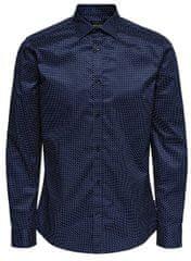ONLY&SONS Pánska košeľa ONSALVES LS 2-PLY EASY IRON AOP SHIRT Dress Blue s