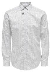 ONLY&SONS Pánska košeľa ONSALVES LS 2-PLY EASY IRON AOP SHIRT White