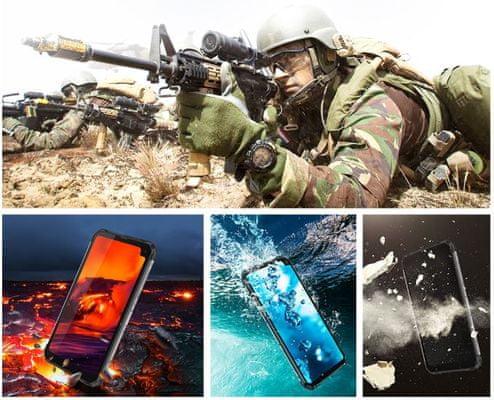 iGet Blackview GBV6100, krytí IP68 a IP69K, voděodolný, odolný proti prachu a písku, teplotě, pádu, vojenský standard