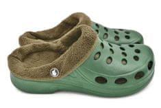 Pánské zateplené clogsy FLAMEshoes A-001-M zeleno-béžové