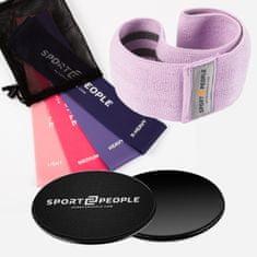 Sport2People S2P NO.1 lateks elastike za vadbo 4 set + tekstilna elastika za vadbo M + drsniki