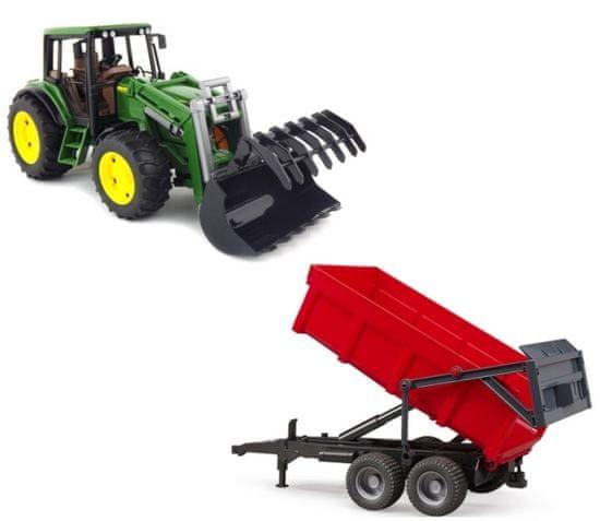 Bruder 1127 Traktor John Deere 6920 s čelním nakadačem a červeným valníkem