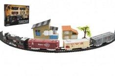 Teddies Vlak + 3 vagóny s kolejemi s doplňky plast 104x68cm na baterie se světlem