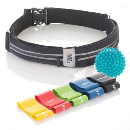 Sport2People S2P NO.5 tekaška torbica klasik + lateks elastike za vadbo + masažna žogica