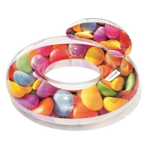 Alltoys Nafukovací kruh Candy s držadly 118x117 cm