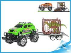 Mikro Trading Auto terénní s přívěsem 39 cm na setrvačník s klecí a dinosaurem