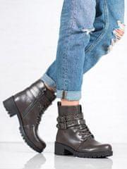 Praktické šedo-stříbrné kotníčkové boty dámské na širokém podpatku