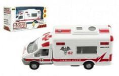 Dromader Auto ambulance městské služby plast 15cm na baterie se zvukem se světlem v krabici 19x10x7cm