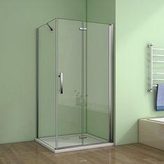 H K Štvorcový sprchovací kút MELODY 90 × 90 cm so zalamovacími dverami vrátane sprchovej vaničky z liateho mramoru