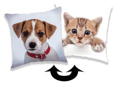 Jerry Fabrics Párna flitterekkel Kutya és cica 01