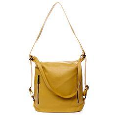 Delami Vera Pelle Kožená dámská kabelka batoh Charlotte žlutá