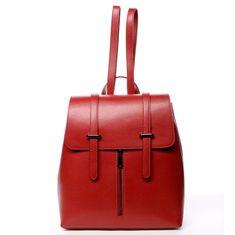 Delami Vera Pelle Dámsky kožený luxusný batoh Anna červený