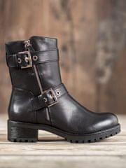 Komfortní černé dámské kotníčkové boty na širokém podpatku