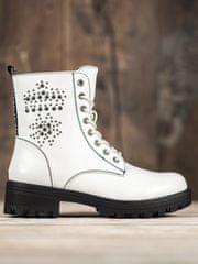 Stylové kotníčkové boty bílé dámské na plochém podpatku