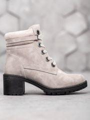 Exkluzívní kotníčkové boty šedo-stříbrné dámské na širokém podpatku