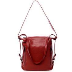 Delami Vera Pelle Kožená dámská kabelka batoh Charlotte červená