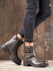 Výborné dámské kotníčkové boty šedo-stříbrné na širokém podpatku
